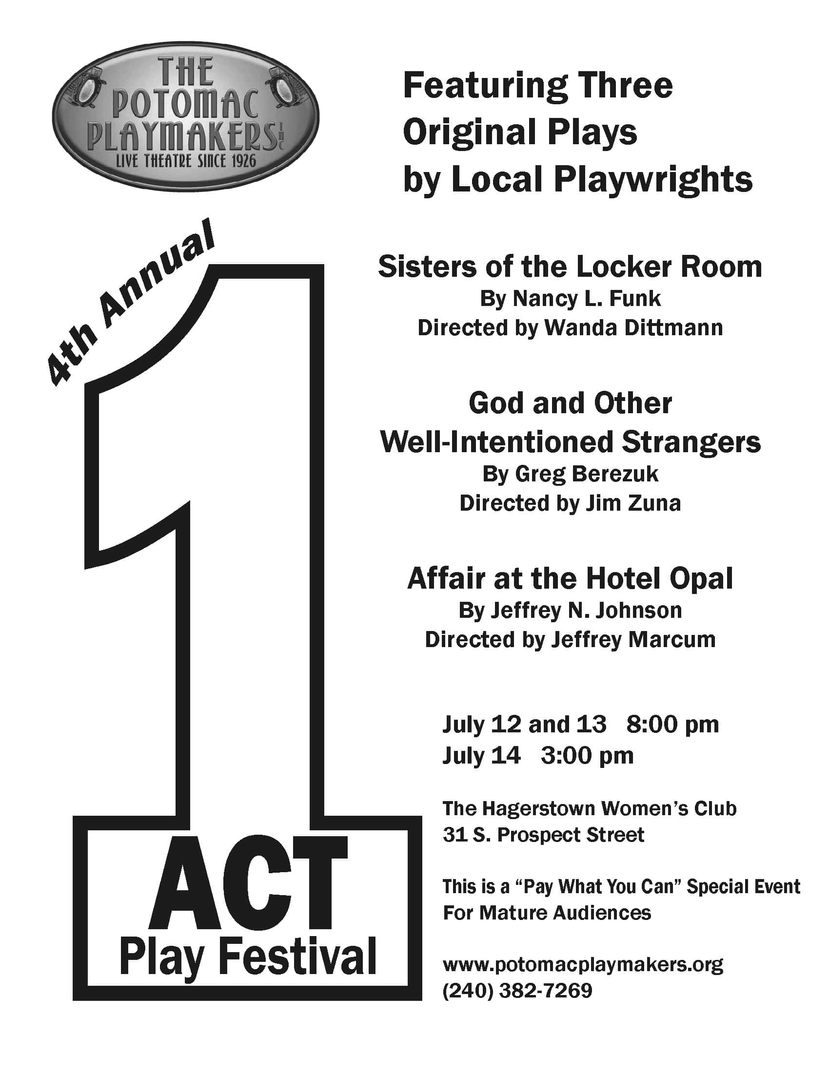 Potomac Playmakers Fourth Annual One-Act Play Festival