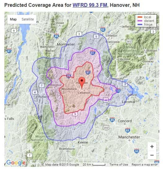 WFRD-FM Predicted FCC Licensed Coverage Area