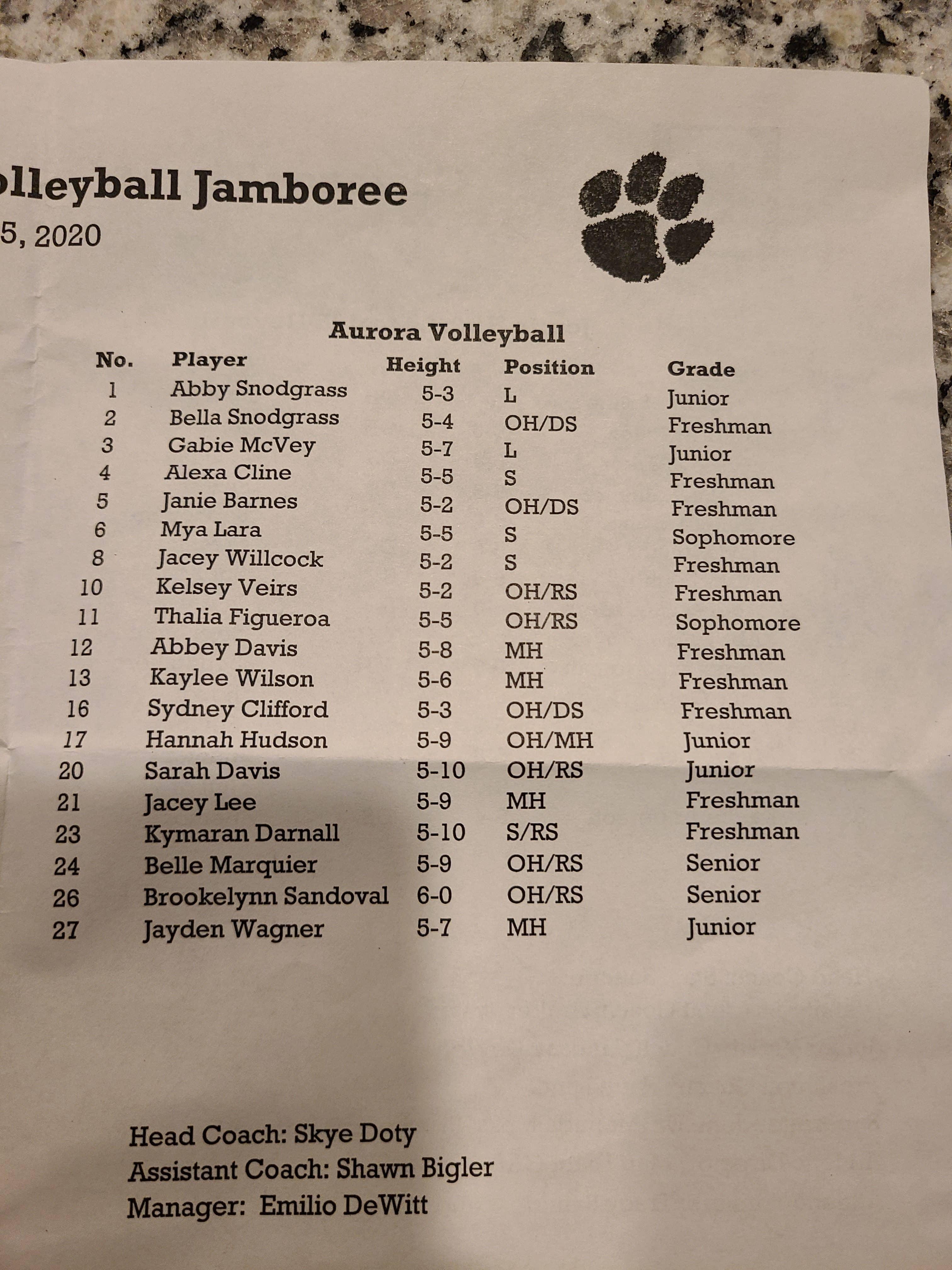 2020 Aurora Volleyball Roster Ozark Sports Zone