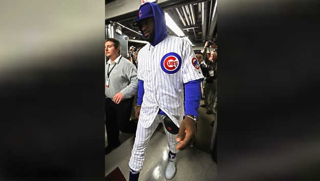 low priced a0bf0 0e518 LeBron James Wears Chicago Cubs Uniform After Losing Bet ...