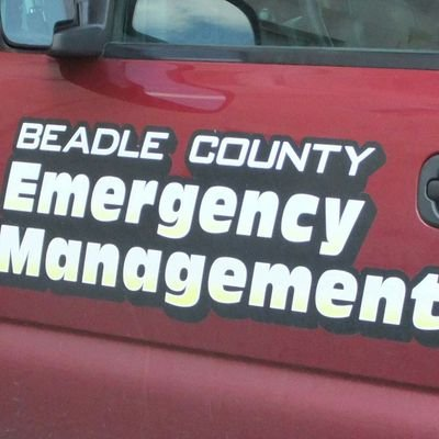 Text on door of Beadle County Emergency Management