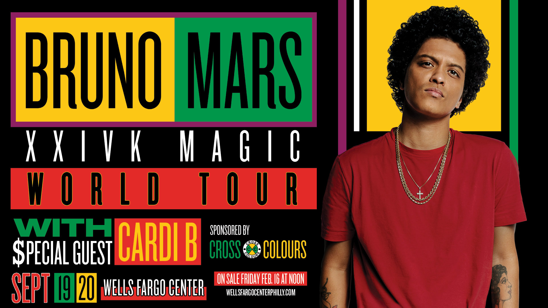 concert announcement bruno mars at wells fargo center today 39 s 101 1 more fm philadelphia. Black Bedroom Furniture Sets. Home Design Ideas