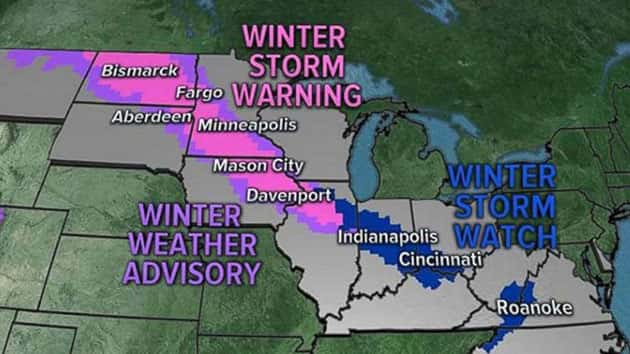 Thirteen States From Dakotas To North Carolina On Alert