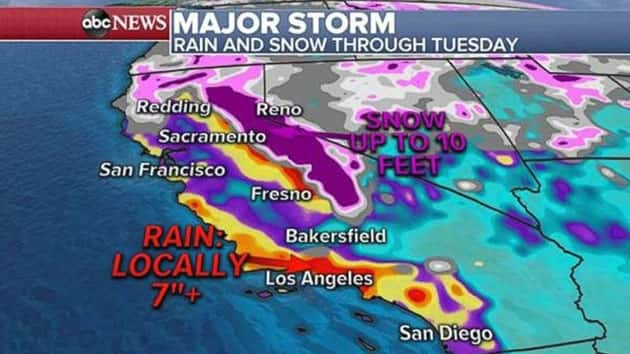 Map Of California Flooding.Major Storm Could Bring Flash Flooding Mudslides To Southern