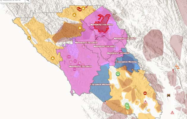 sonoma county wildfire map Kincade Fire Most Of West County Now Under Mandatory Evacuation