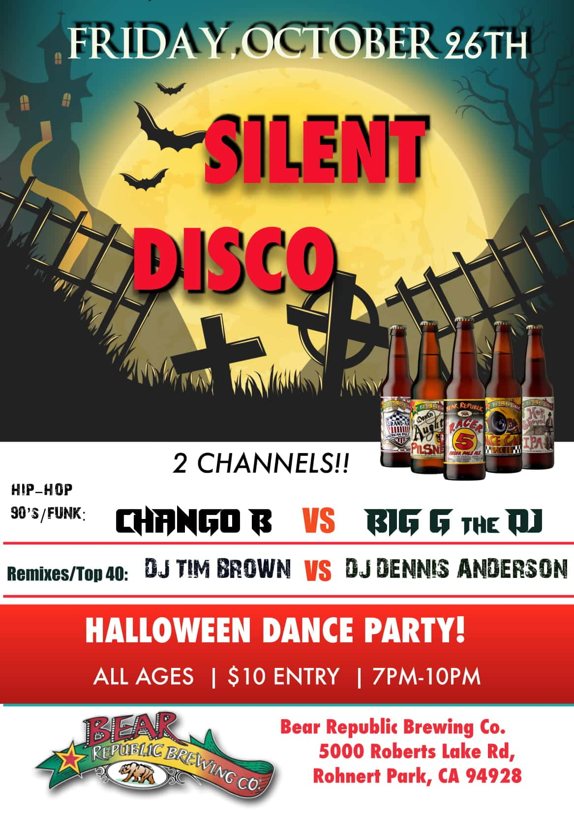 Bear Republic Brewing Company Halloween Silent Disco! | K
