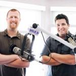 Nick Curcuru & Dom Nicastro in front of microphones at north shore 1049 studio