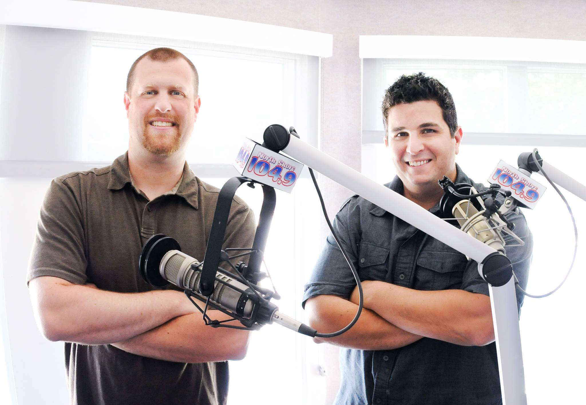Nick Curcuru & Dom Nicastro in front of microphones at north shore 1049 studio