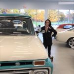 Erika and a gorgeous classic Ford
