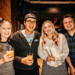 Amber and Tanner hang with dear friends of the station Jackie and Nick Fletch proudly holding their own beers made in collaboration with their friends at Third Street Aleworks.
