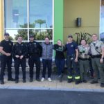 Amber and Tanner hang with Police and Fire at a Kincade Fire T-Shirt fundraiser at Friedman