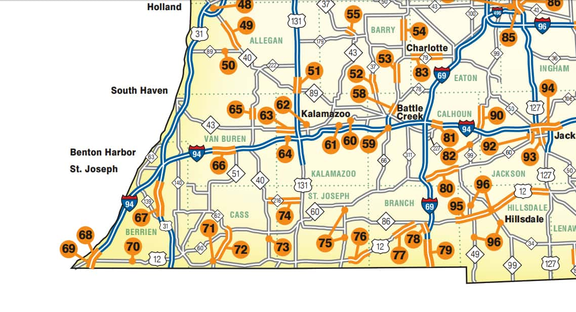 Mdot Issues 2018 Road Construction Project Map Moody On The Market