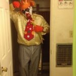 Creepy Clown: I'm wondering what you find so funny. Here's my rendition of a creepy clown....rubber chicken included.