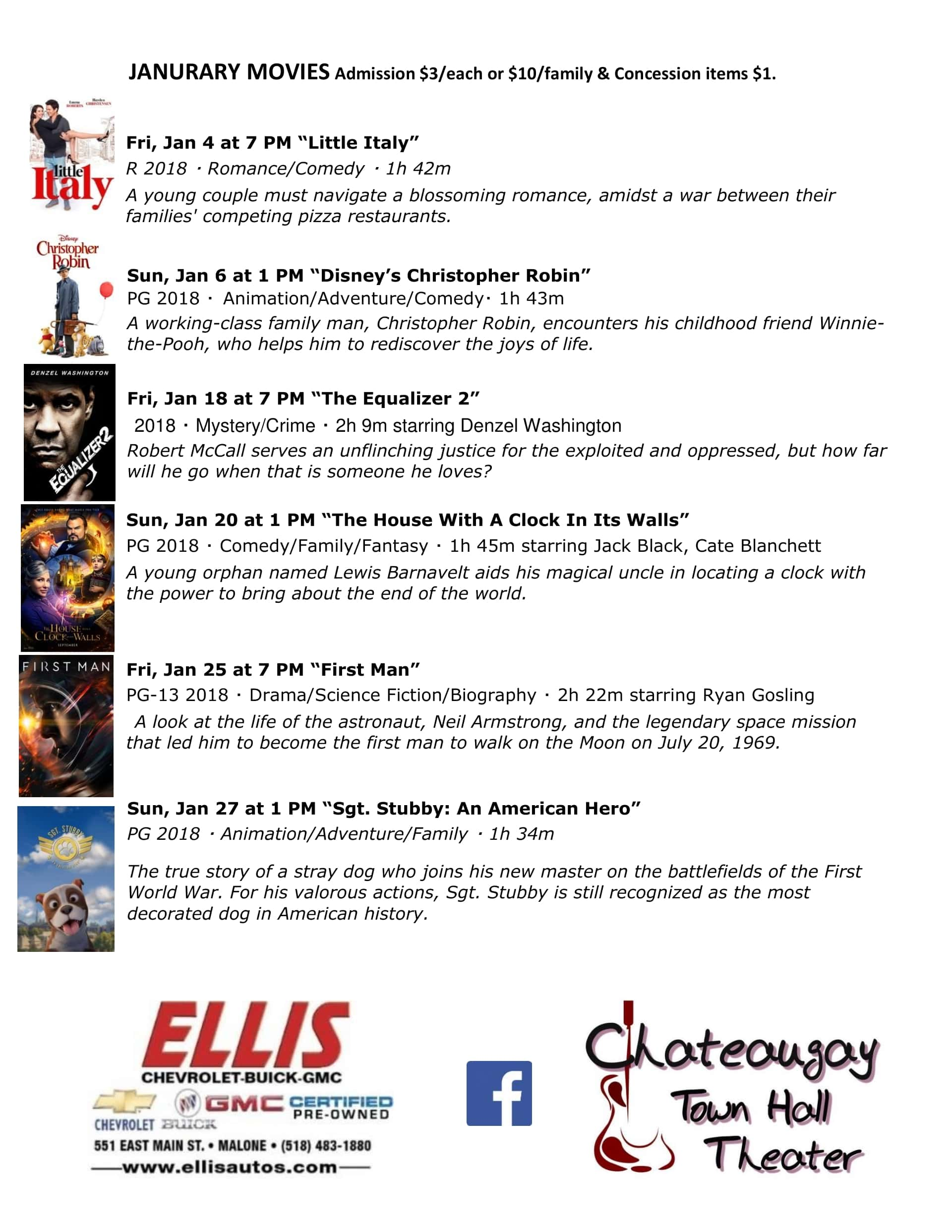 Chateaugay Theater January Movies | Wild Country 96 5