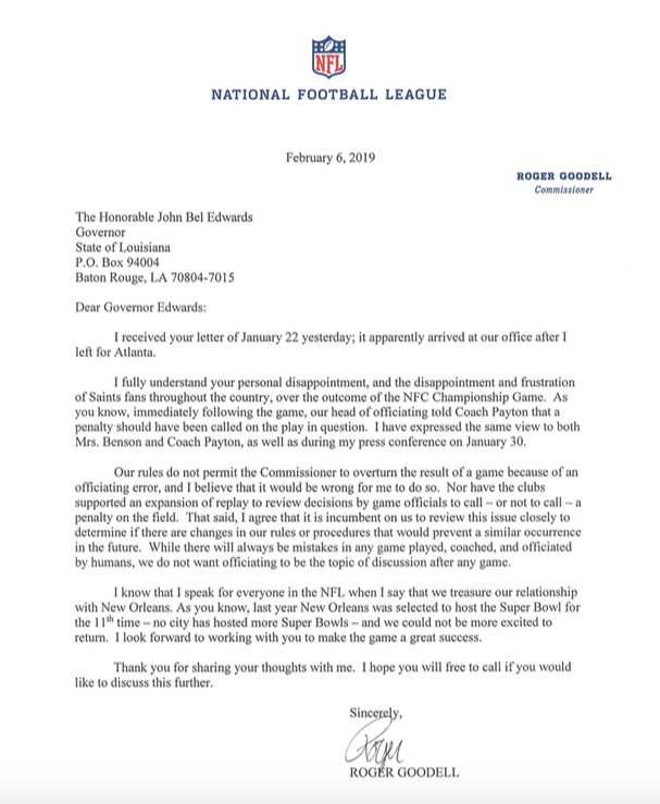 Governor Edwards Receives Response Letter From Roger Goodell