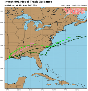 Computer Path Predictions for Invest 90L