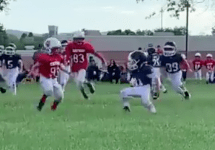 8 year old behind the back twice football run
