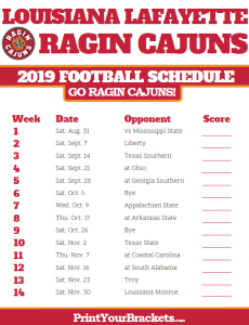 Ragin' Cajuns Football Schedule 2019