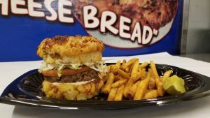 bourques cheese bread burger