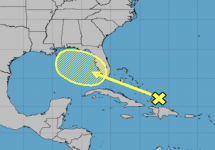 Tropical disturbance near the bahamas could move into the Gulf of Mexico