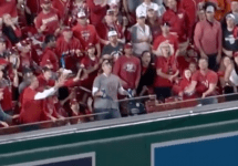 Guy hit in chest with homerun ball at world series