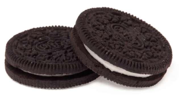 two oreo cookies on a white background