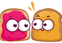 Cartoon slices of bread with peanut butter and jelly