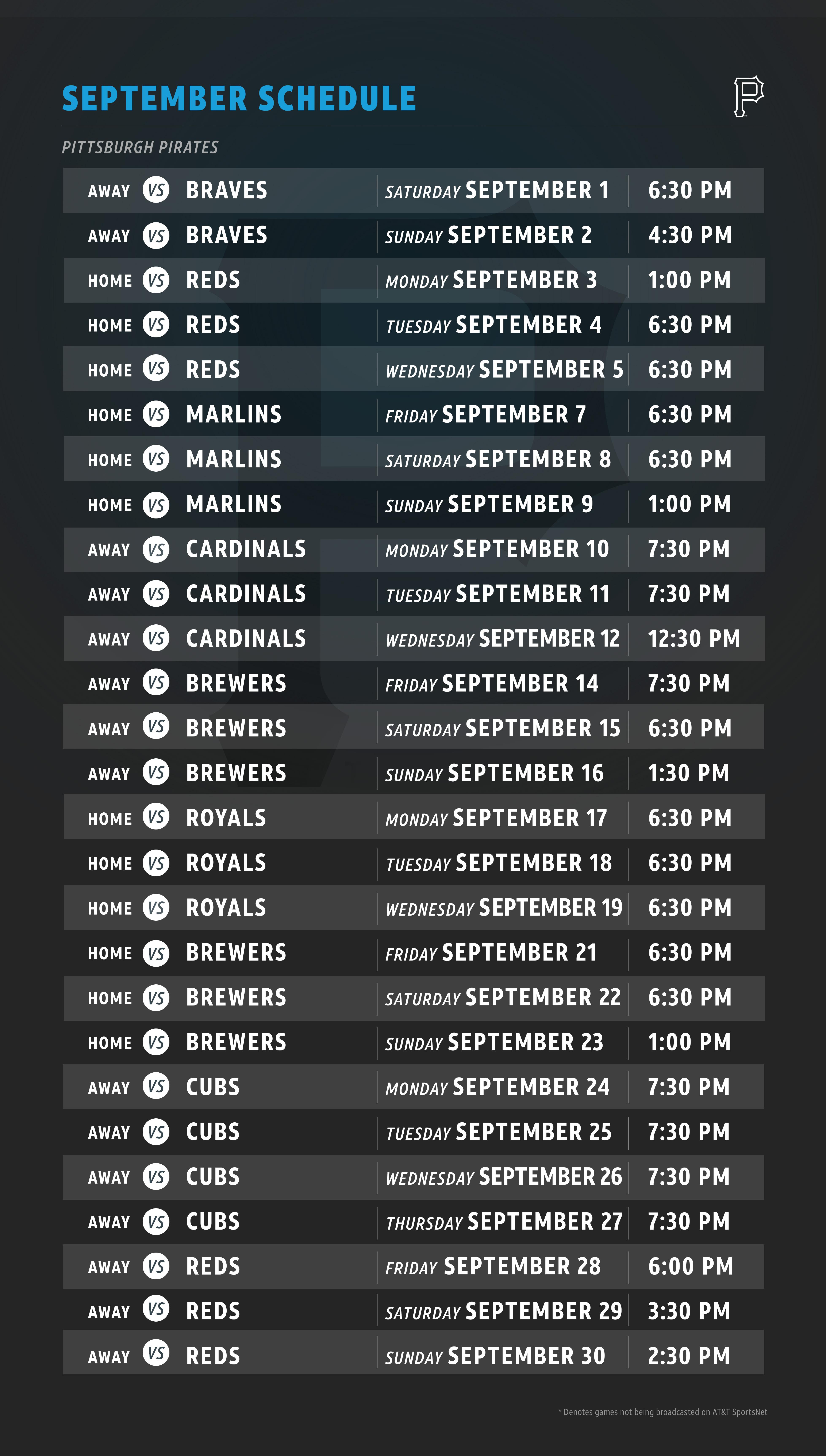 pirates schedule | at&t sportsnet