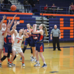 Lady-Cougars-Fight-for-Rebound: Brianna Dennis and Addy Bratcher (#3) go for a rebound in a January 8th loss to Edmonson County.