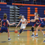 Annie-Cuts-to-Basket: Sophomore guard Annie Kiper drives through the lane in a January 8th loss to Edmonson County.