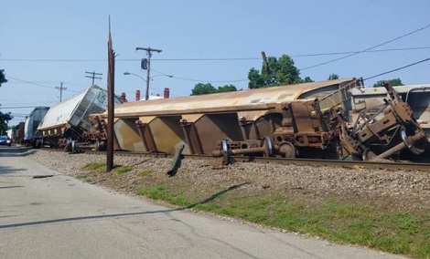 Less than 48 hours after Colesburg train derailment train leaves tracks in central Kentucky