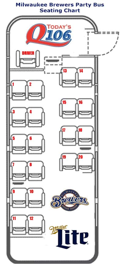 brewers party bus seating chart 2016 today s q106