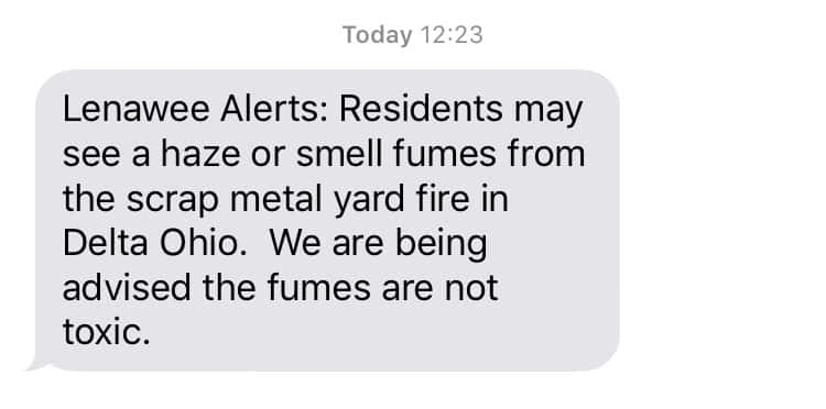 Lenawee Alerts Says Fumes From Scrap Metal Fire In Delta