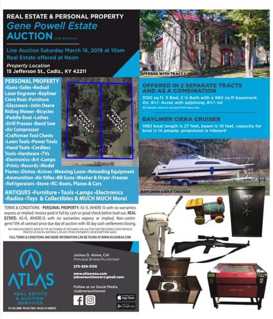 Cadiz Kentucky Weather: Atlas Auction March 16- Gene Powell Estate