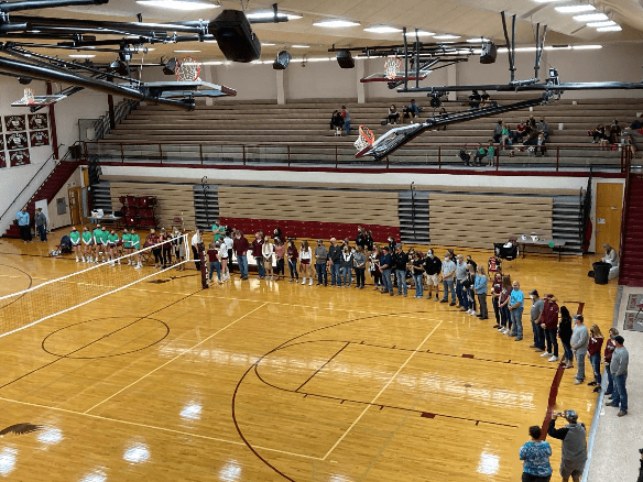 Many seniors and parents lined up in the Sidney High School gym as the seniors are recognized.