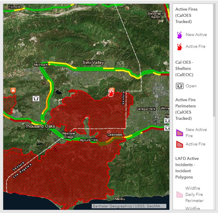 Cal Oes Fire Map.Curbed La Woolsey Fire Map See Where The Wildfire Is Burning In