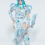 Tyrande_1: Tyrande Whisperwind from World of Warcraft. Made by hand from foam, epoxy resin, spandex, PVC pipe, LEDs, and faux silver leaf.