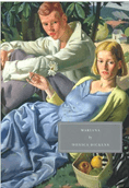 The Persephone Books' cover of the Monica Dickens' novel Mariana which features a painting of a young man and woman lounging in the grass.