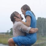 Ryan Gosling and Rachel McAdams in The Notebook hold each other passionately in the rain