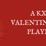 "Red background featuring a drawing of a heart and the text ""A KXSU Valentine's Day Playlist"""