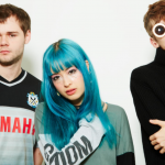 Jamie Bulled (production), Sarah Bonito (vocals), and Gus Lobban (production), the three member of synth pop band Kero Kero Bonito, Photo courtesy of Neumos