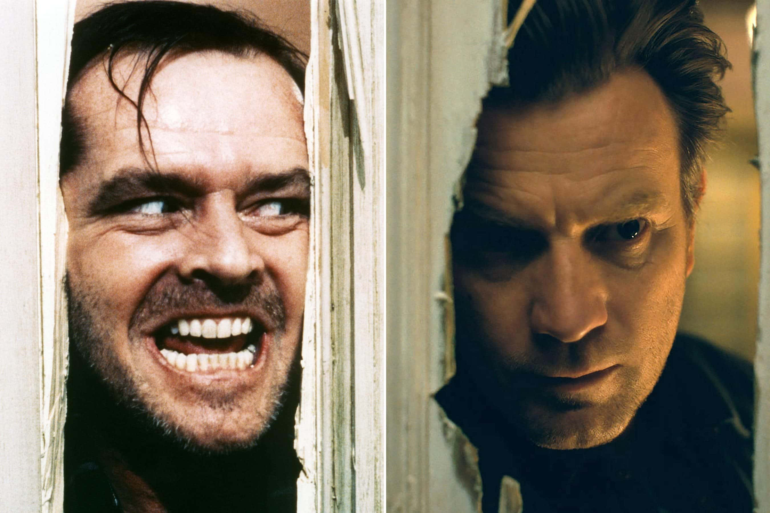 Like Father, like Son: Jack Nicholson (left) and Ewan McGregor peer through the Overlook's bathroom door in The Shining and Doctor Sleep.