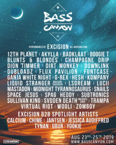 Lineup for music festival Bass Canyon