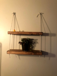 two dark wooden shelves hanging from a wall that are held together with beige rope. The same rope is tied on to two hooks. There is also a plant and a rubber duck on the shelves