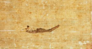 An old painting of a fisherman in a canoe like boat. He is fishing of the back of the boat with a rod. A large portion of the canvas is empty.
