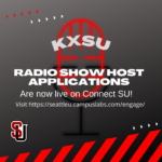 Flyer that promotes KXSU radio show host applications