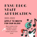 "poster that says ""kxsu blog staff application"""