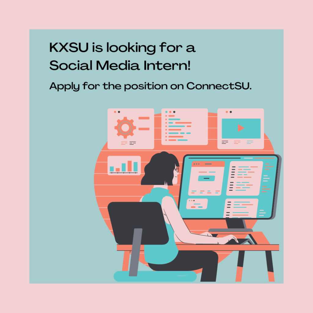 decorative poster that talks about the social media intern position