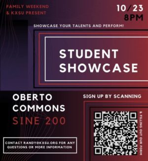 """decorative image that says """"student showcase"""" along with the details of its placement"""