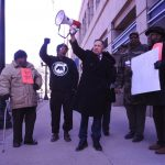 Ohio Democratic gubernatorial hopeful Dennis Kucinich rallied with protesters outside Premier Health headquarters in downtown Dayton Tuesday against the announced closure of Good Samaritan Hospital in Dayton